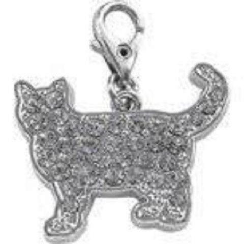 CAT CRYSTAL CLEAR CHARM FOR BAGS PHONES JEWELLERY ETC